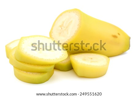 yellow banana and slices cut detail isolated on white - stock photo