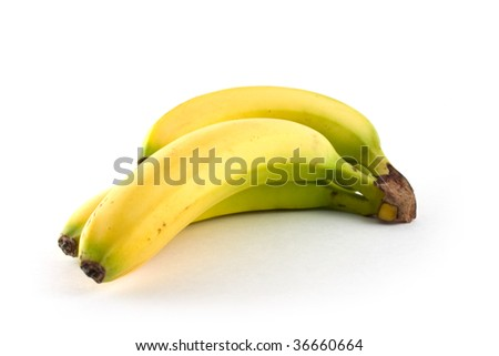 yellow bananas isolated on the white background - stock photo