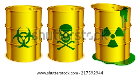 Yellow barrels with warning signs and toxic substance inside. - stock photo