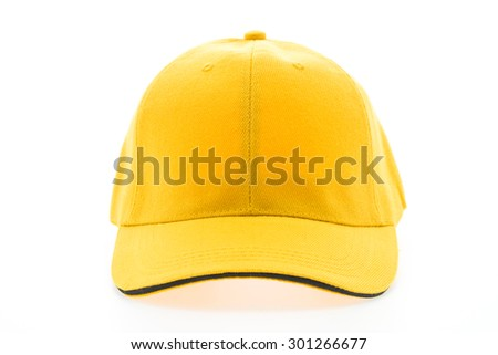 Yellow baseball cap isolated on white background