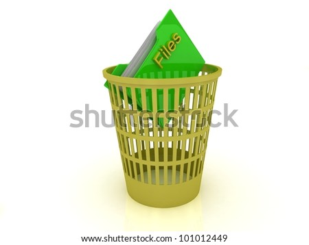 Yellow basket with a folder for the files on a white background