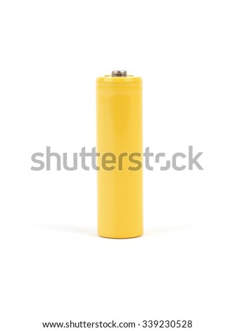 Yellow battery on white background
