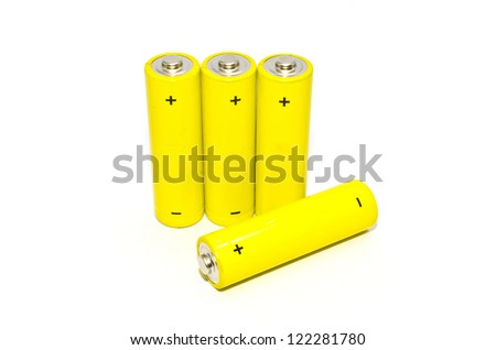 Yellow battery on white background , isolated - stock photo