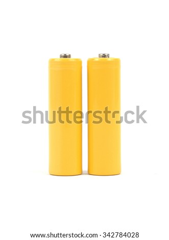 Yellow battery's on white background