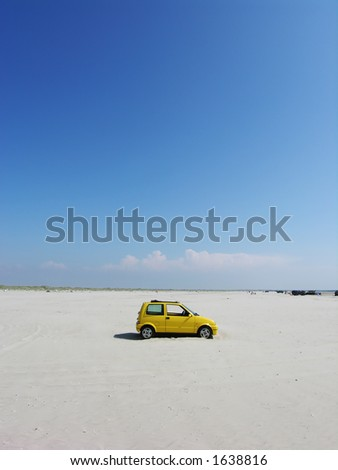 Yellow Beach Car - stock photo