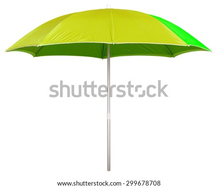 Yellow beach umbrella isolated on white. Clipping path included. - stock photo