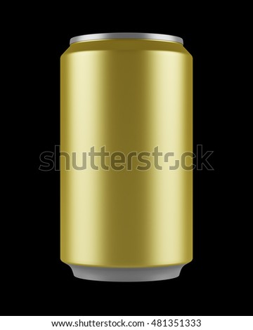 yellow beer can isolated on black background. 3d illustration