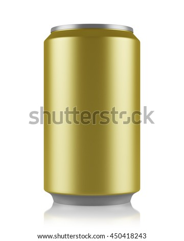 yellow beer can isolated on white background. 3d illustration