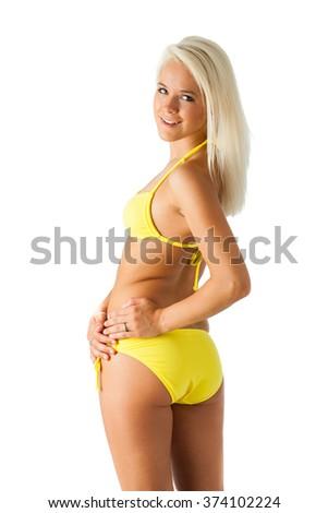 Yellow bikini bottom - stock photo
