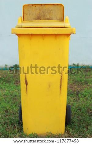 Yellow bins. - stock photo