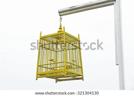 yellow Bird Cage - stock photo