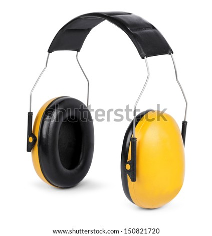Yellow black ear protectors isolated on white background - stock photo