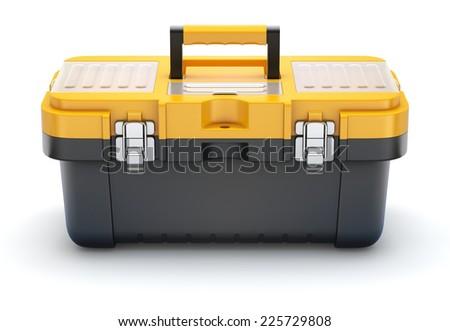 Yellow black plastic toolbox - stock photo
