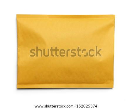 Yellow Blank Envelope Isolated on White Background. - stock photo