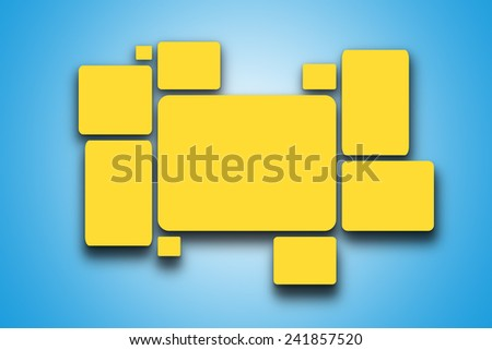 Yellow blank pictures on the wall - stock photo
