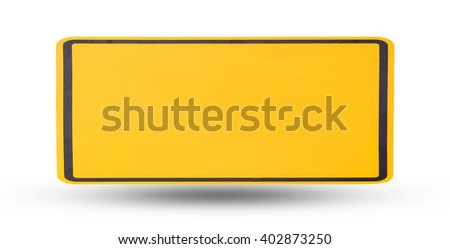 Yellow blank sign plate isolated with shadow on white background