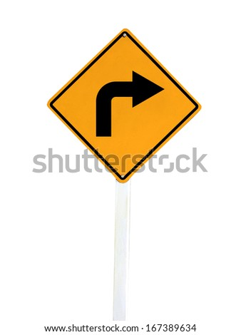 Yellow blind corner turning warning sign on a biking trail isolated on white