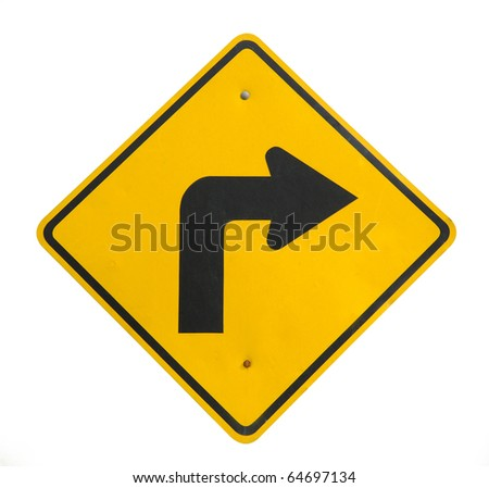 Yellow blind corner turning warning sign on a biking trail isolated on white - stock photo