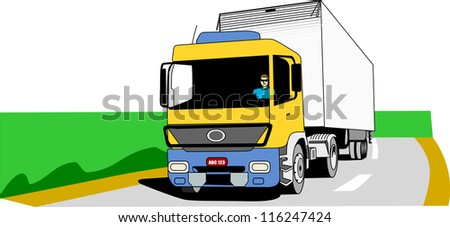 Yellow, blue and white cargo truck moves on an empty road.