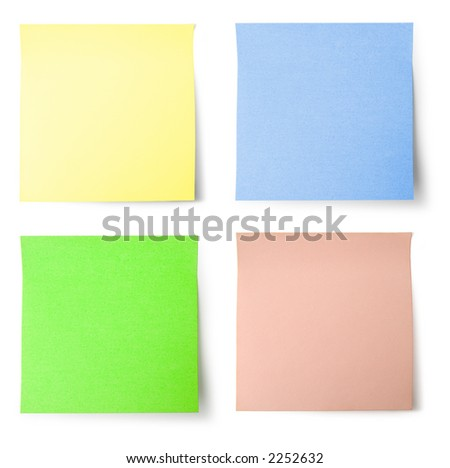 Yellow, blue, green and pink (colorful) note paper with shadow - isolated