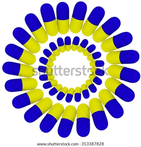 Yellow blue pills on white background 3d image - stock photo