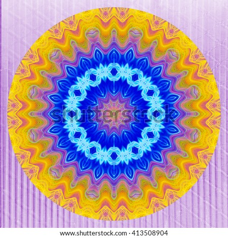 Yellow blue purple flower twirl kaleidoscope circle