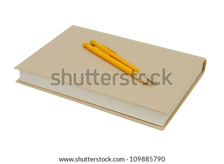 Yellow book and pencil isolated on white background