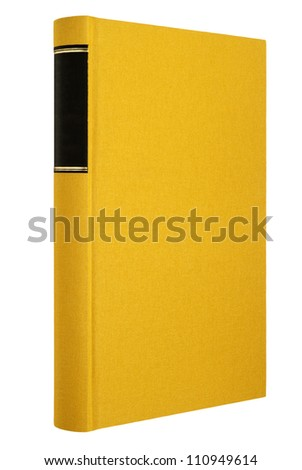 Yellow book isolated on white, black frame for title on the spine - stock photo