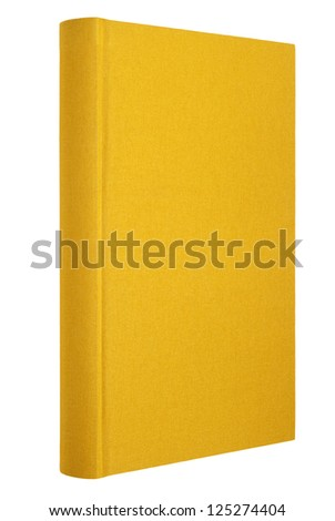 Yellow book isolated on white, cloth cover - stock photo