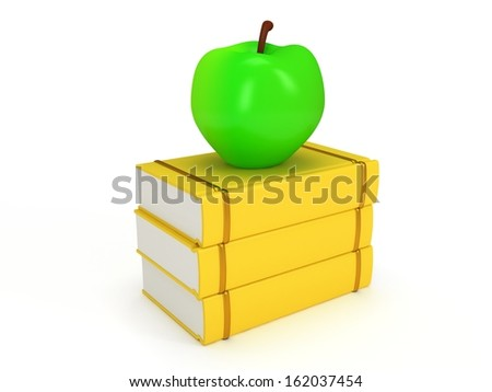 Yellow book tower with green apple on the top, isolated on white background. 3d render of studing illustration. Back to school. - stock photo