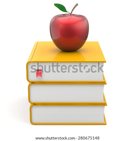 Yellow books red apple index textbooks stack education studying reading learning school college knowledge literature idea icon concept. 3d render isolated on white - stock photo