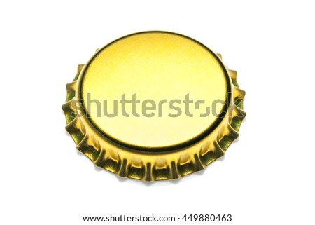 yellow bottle cap isolated on white background