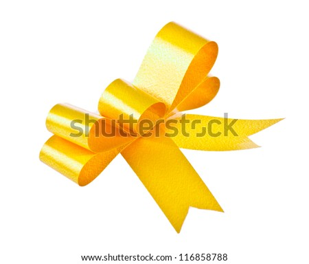 Yellow bow isolated on white background - stock photo