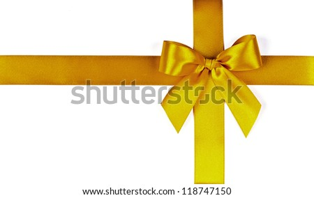 yellow bow on a white background