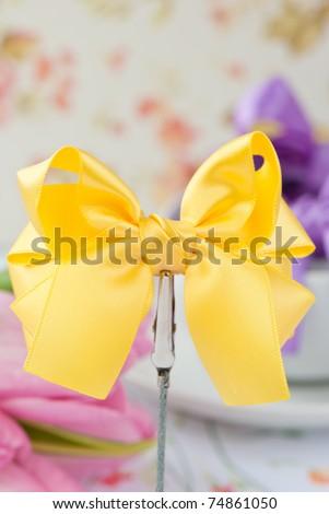 Yellow bow tie - stock photo
