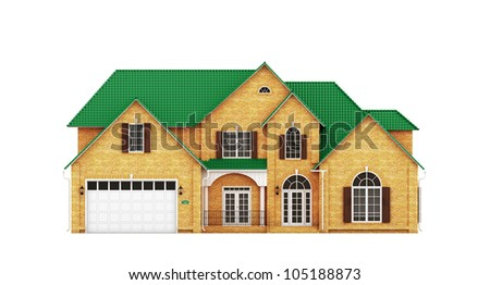 Yellow brick house with green roof, front view