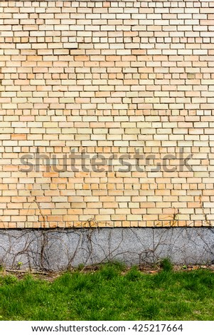 Yellow brick wall background with green grass - stock photo