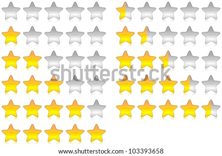 Yellow brilliant and glossy rating stars set illustration with reflection - stock photo
