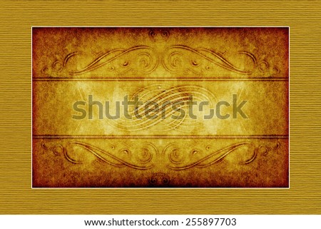 yellow-brown grunge paper background with vintage victorian style
