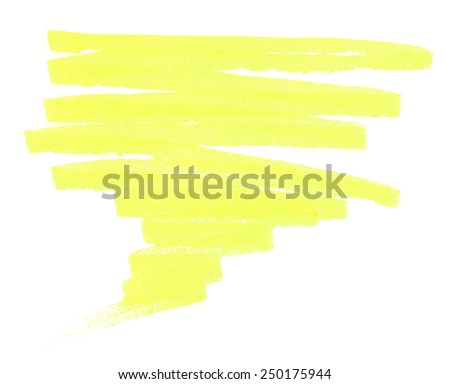 yellow brush stroke pen scribbles, elements for your design - stock photo