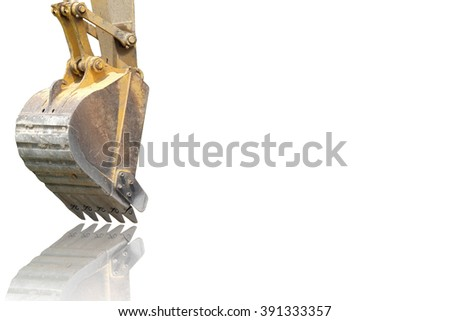 yellow bucket of track-type loader excavator with reflection and space for adding message (isolated mode)