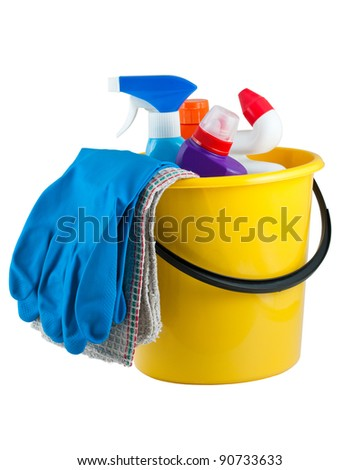 Yellow bucket with cleaning supplies isolated on white background - stock photo