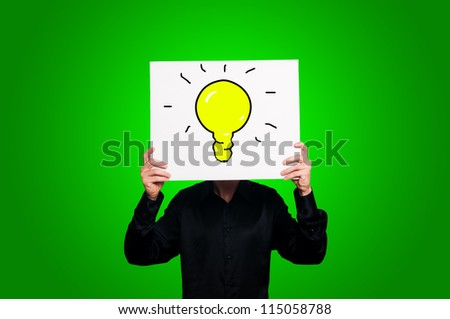 yellow bulb on green background