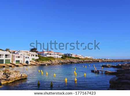 Yellow Buoys on the southern coast on Menorca, Balearic Islands, Spain