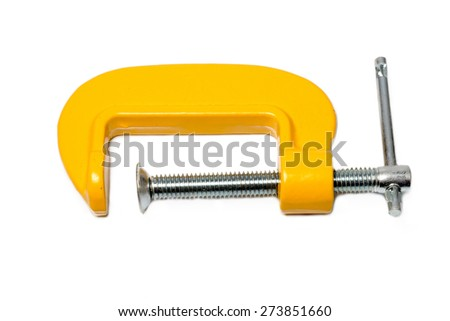 yellow c clamp isolated on white background - stock photo