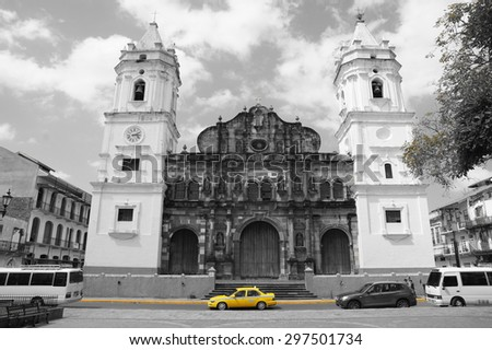 yellow cab catholic church - stock photo