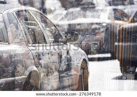 Yellow cab speeds through Times Square in New York, NY, USA - stock photo