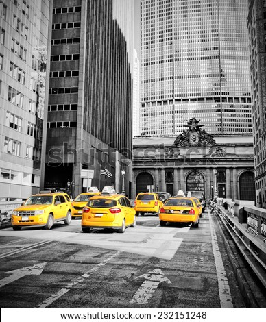 Yellow cabs on Park Avenue in front of Grand Central Terminal, New York - stock photo
