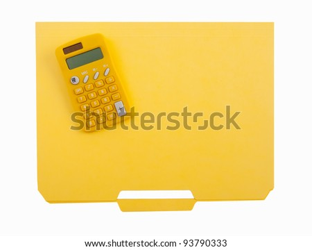 Yellow calculator and file folder - stock photo