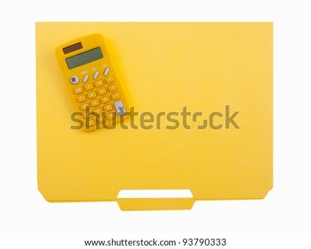 Yellow calculator and file folder - stock photo